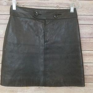 Banana Republic Black Leather Mini Skirt Sz 2